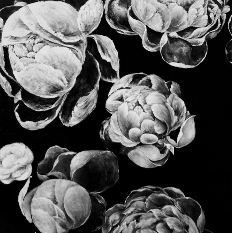 Scarves design by Lillyg .  的艺术衍生品- 黑白花卉丝巾
